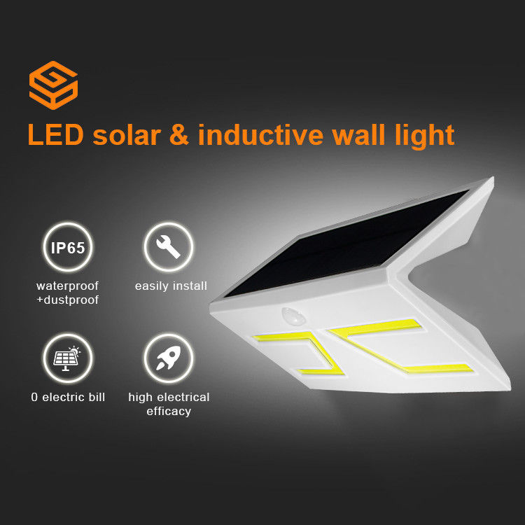 High Brightness Solar LED PIR Light 600lm IP65 Waterproof Up And Down Wall Lamp